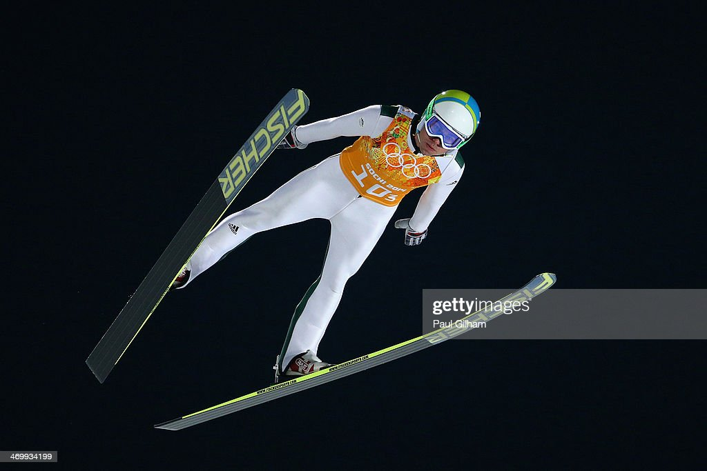 <a gi-track='captionPersonalityLinkClicked' href=/galleries/search?phrase=Jernej+Damjan&family=editorial&specificpeople=820554 ng-click='$event.stopPropagation()'>Jernej Damjan</a> of Slovenia jumps during the Men's Team Ski Jumping trial on day 10 of the Sochi 2014 Winter Olympics at the RusSki Gorki Ski Jumping Center on February 17, 2014 in Sochi, Russia.