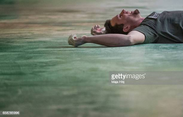Jernej Kruder of Slovenia reacts during men finals of bouldering event Studio Bloc Masters 2017 on March 26 2017 in Pfungstadt Germany