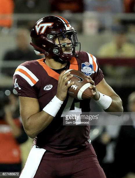 Jerod Evans of the Virginia Tech Hokies attempts a pass during the ACC Championship game against the Clemson Tigers on December 3 2016 in Orlando...