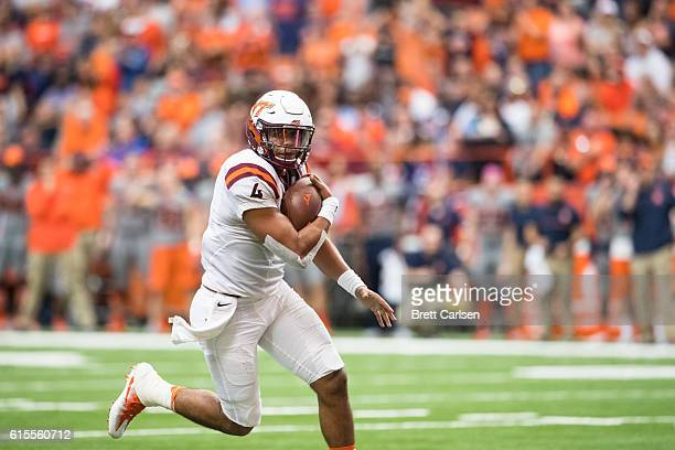 Jerod Evans of the Virginia Tech Hokies carries the ball during the game against the Syracuse Orange on October 15 2016 at The Carrier Dome in...