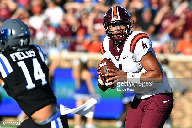 Jerod Evans of the Virginia Tech Hokies drops back to pass against the Duke Blue Devils at Wallace Wade Stadium on November 5 2016 in Durham North...