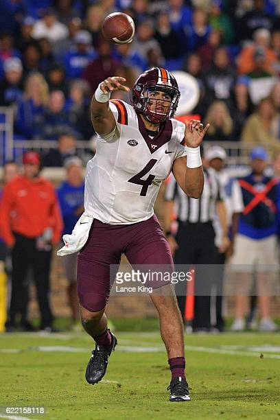 Jerod Evans of the Virginia Tech Hokies passes against the Duke Blue Devils at Wallace Wade Stadium on November 5 2016 in Durham North Carolina...