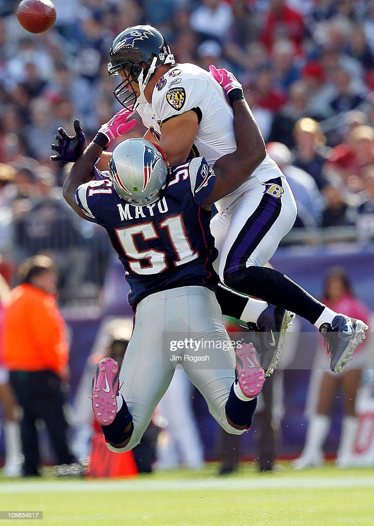 Jerod Mayo #51 of the New England Patriots collides with Todd Heap #86 of the Baltimore Ravens at Gillette Stadium on October 17, 2010 in Foxboro, Massachusetts.