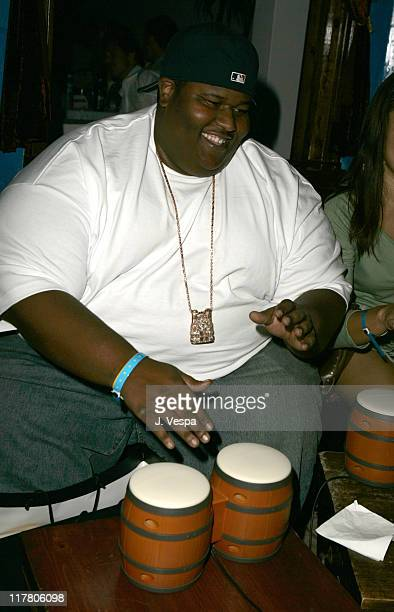 Jerod Mixon gets into the beat with Donkey Konga a new video game for Nintendo Game Cube during a Sept 27th Hollywood party to kick off the Nintendo...