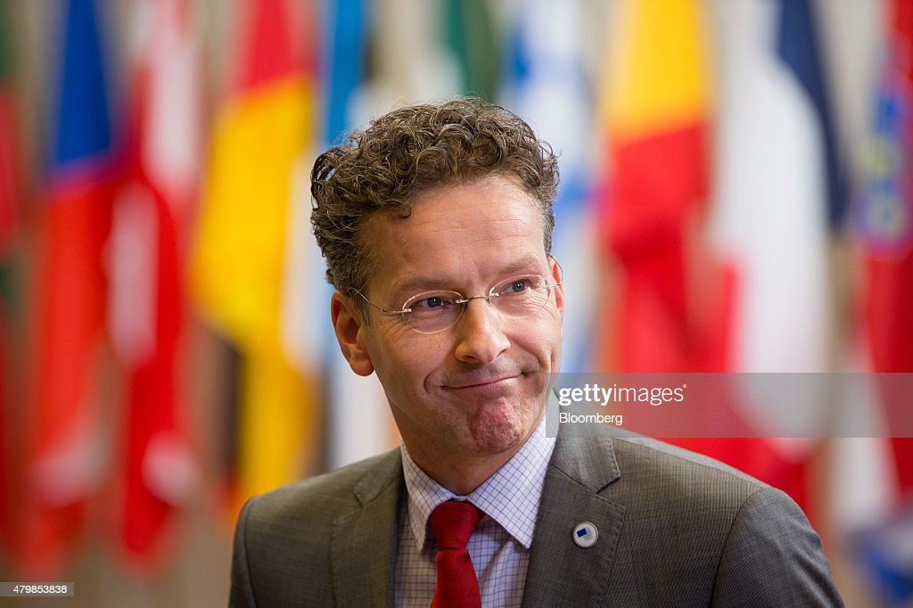<a gi-track='captionPersonalityLinkClicked' href=/galleries/search?phrase=Jeroen+Dijsselbloem&family=editorial&specificpeople=9751962 ng-click='$event.stopPropagation()'>Jeroen Dijsselbloem</a>, Dutch finance minister and head of the group of euro-area finance ministers, leaves following an emergency Greek summit with European leaders in Brussels, Belgium, on Tuesday, July 7, 2015. Greece steered clear of an immediate collision with creditors by promising to put its economic proposals in writing as Merkel warned that 'only a few days' are left to reach a deal. Photographer: Jasper Juinen/Bloomberg via Getty Images