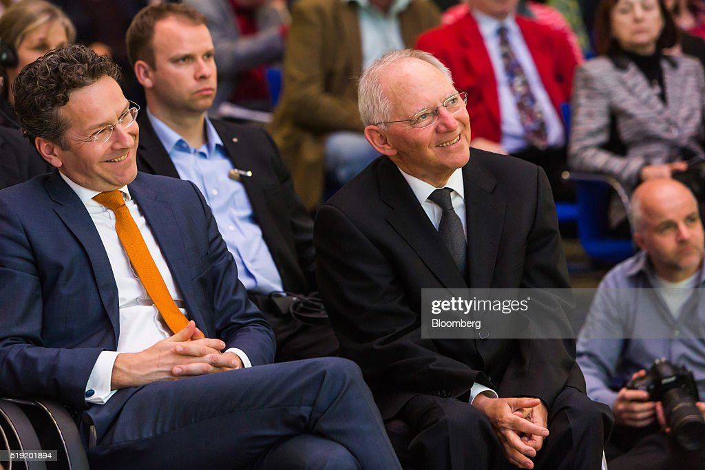 <a gi-track='captionPersonalityLinkClicked' href=/galleries/search?phrase=Jeroen+Dijsselbloem&family=editorial&specificpeople=9751962 ng-click='$event.stopPropagation()'>Jeroen Dijsselbloem</a>, Dutch finance minister and head of the group of euro-area finance ministers, left, and Wolfgang Schaeuble, Germany's finance minister, smile before the start of a during a news conference at the finance ministry in Berlin, Germany, on Monday, April 4, 2016. Greece could again face the threat of being pushed into default and out of the euro if its current bailout review drags on into June and July, according to European officials monitoring the slow progress of Prime Minister Alexis Tsipras's negotiations with creditors. Photographer: Rolf Schulten/Bloomberg via Getty Images