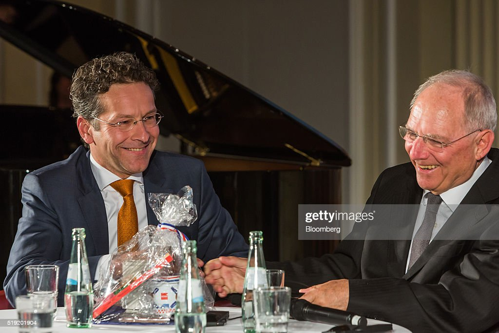 <a gi-track='captionPersonalityLinkClicked' href=/galleries/search?phrase=Jeroen+Dijsselbloem&family=editorial&specificpeople=9751962 ng-click='$event.stopPropagation()'>Jeroen Dijsselbloem</a>, Dutch finance minister and head of the group of euro-area finance ministers, left, and Wolfgang Schaeuble, Germany's finance minister, laugh during a news conference at the finance ministry in Berlin, Germany, on Monday, April 4, 2016. Greece could again face the threat of being pushed into default and out of the euro if its current bailout review drags on into June and July, according to European officials monitoring the slow progress of Prime Minister Alexis Tsipras's negotiations with creditors. Photographer: Rolf Schulten/Bloomberg via Getty Images