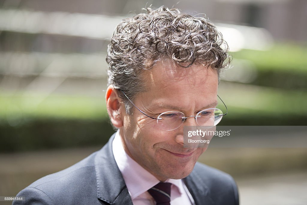 <a gi-track='captionPersonalityLinkClicked' href=/galleries/search?phrase=Jeroen+Dijsselbloem&family=editorial&specificpeople=9751962 ng-click='$event.stopPropagation()'>Jeroen Dijsselbloem</a>, Dutch finance minister and head of the group of euro-area finance ministers, reacts as he gives a statement prior to a Eurogroup meeting of European finance ministers in Brussels, Belgium, on Tuesday, May 24, 2016. Five years after handing Greece the biggest sovereign-debt write-off in history, European policy makers have come full circle to the point they had all hoped to avoid: a real discussion on debt relief. Photographer: Jasper Juinen/Bloomberg via Getty Images