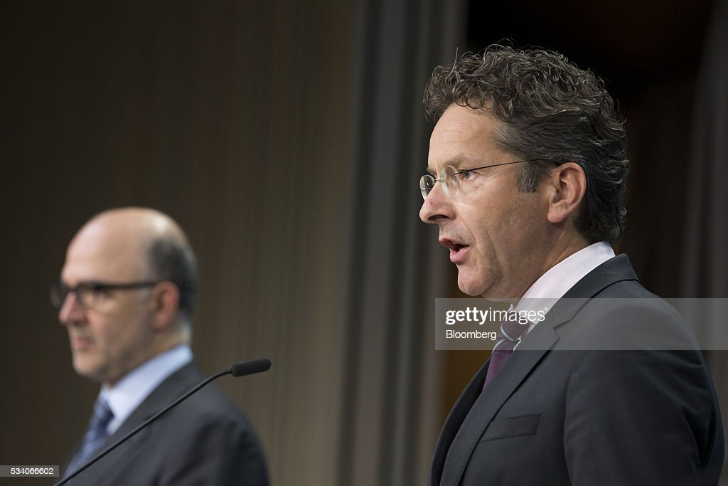 <a gi-track='captionPersonalityLinkClicked' href=/galleries/search?phrase=Jeroen+Dijsselbloem&family=editorial&specificpeople=9751962 ng-click='$event.stopPropagation()'>Jeroen Dijsselbloem</a>, Dutch finance minister and head of the group of euro-area finance ministers, right, speaks during a news conference following a Eurogroup meeting of European finance ministers in Brussels, Belgium, on Tuesday, May 24, 2016. Greece's creditors reached an agreement that will allow the release of 10.3 billion euros ($11.5 billion) of aid and committed to ease the nation's 321 billion euros of debt. Photographer: Jasper Juinen/Bloomberg via Getty Images