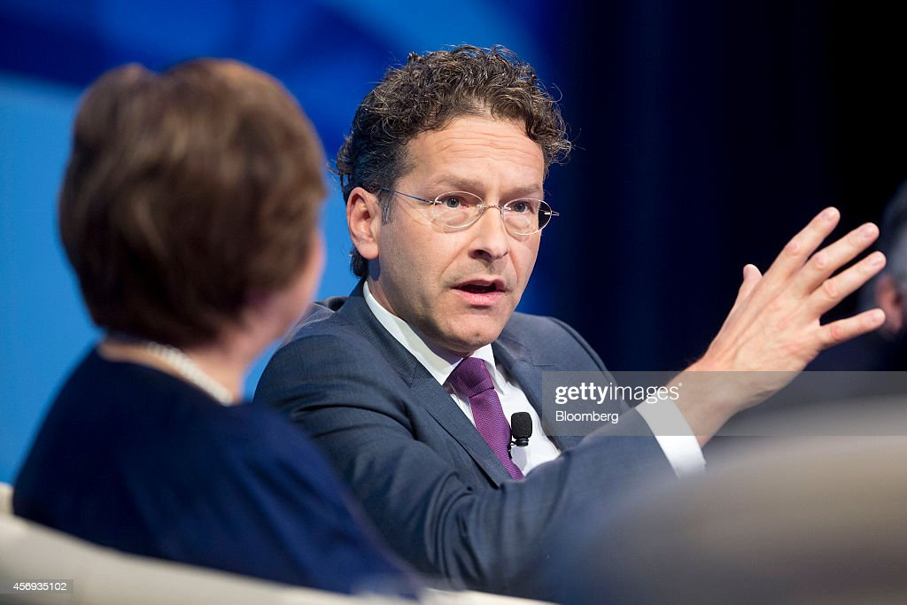 Jeroen Dijsselbloem Dutch finance minister and president of the Eurogroup speaks at a panel discussion during the International Monetary Fund and...