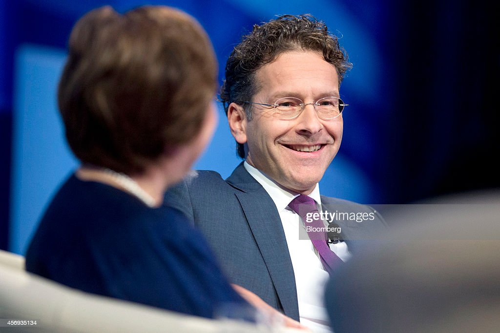 Jeroen Dijsselbloem Dutch finance minister and president of the Eurogroup smiles at a panel discussion during the International Monetary Fund and...