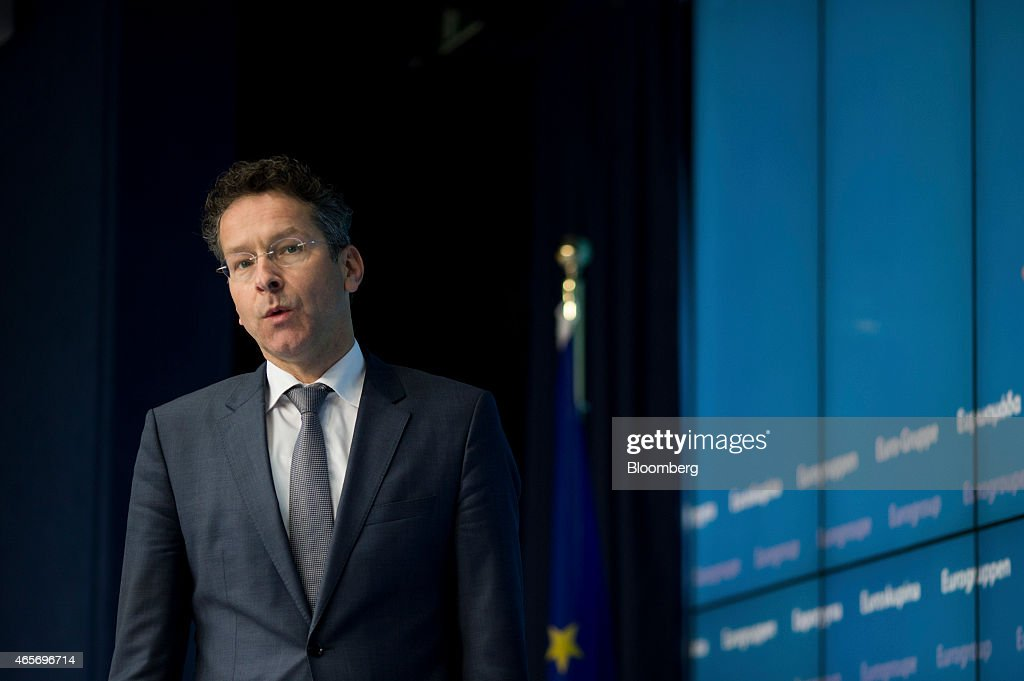 <a gi-track='captionPersonalityLinkClicked' href=/galleries/search?phrase=Jeroen+Dijsselbloem&family=editorial&specificpeople=9751962 ng-click='$event.stopPropagation()'>Jeroen Dijsselbloem</a>, Dutch finance minister and president of the Eurogroup, arrives for a news conference following a meeting of European finance ministers in Brussels, Belgium, on Monday, March 9, 2015. Greece will resume talks with its creditors this week after euro-area finance ministers demanded urgent action to avert an impending cash crunch. Photographer: Jasper Juinen/Bloomberg via Getty Images
