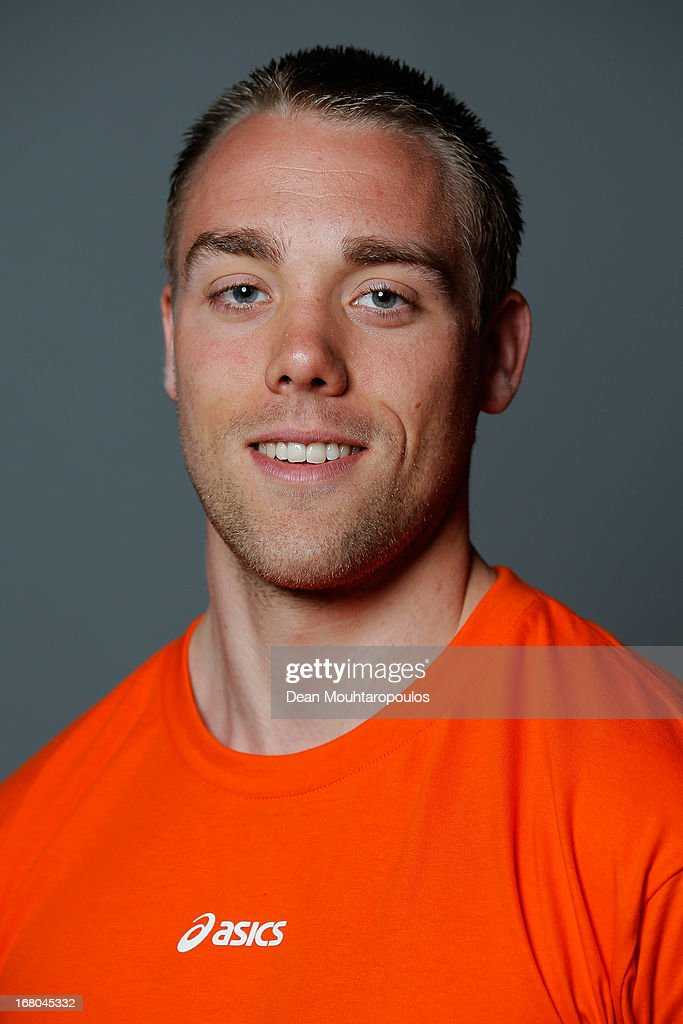 Jeroen Piek, poses during the NOC*NSF (Nederlands Olympisch Comite * Nederlandse Sport Federatie) Sochi athletes and officials photo shoot for Asics at the Spoorwegmuseum on May 4, 2013 in Utrecht, Netherlands.