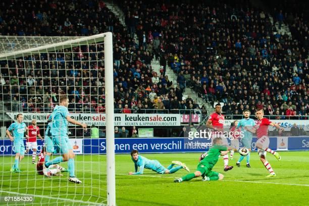 Jeroen van der Lely of FC Twente Iliass Bel Hassani of AZ Rens van Eijden of AZ Jos Hooiveld of FC Twente Hidde ter Avest of FC Twente goalkeeper...