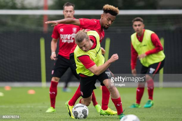 Jeroen van der Lely of FC Twente Ryan Trotman of FC Twenteduring a training session at Trainingscentrum Hengelo on June 24 2017 in Hengelo The...