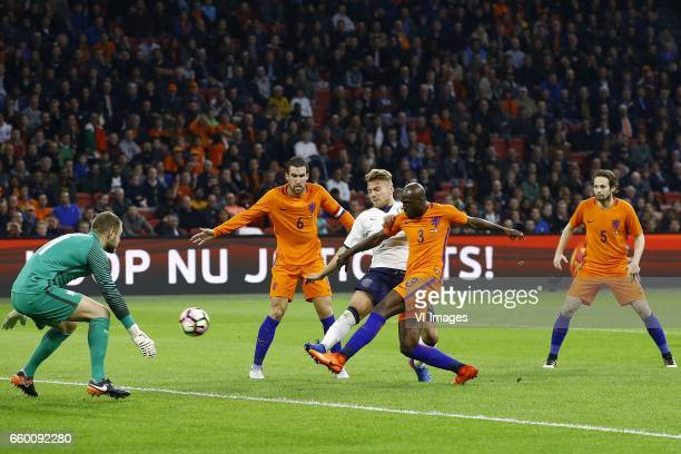 Jeroen Zoet of Holland Kevin Strootman of Holland Ciro Immobile of Italy Bruno Martens Indi of Holland Daley Blind of Hollandduring the friendly...