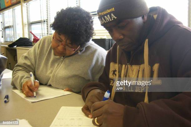 Jerome and Brenda Lewis who have been without insurance since October 2008 when she lost work � and their coverage fill out an application for...