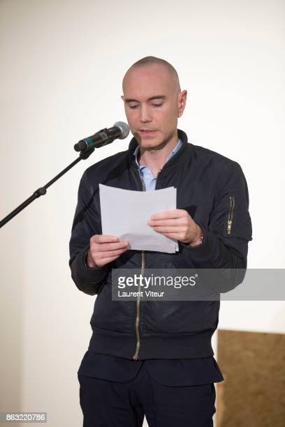 Jerome Batout reads 'Tombeau pour Cinq Cent Mille Soldats' for 50th anniversary of the book at Azzedine Alaia Gallery on October 19 2017 in Paris...