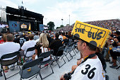 Jerome Bettis fan looks on during the NFL Hall of Fame induction ceremony at Tom Benson Hall of Fame Stadium on August 8 2015 in Canton Ohio