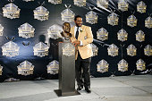 Jerome Bettis poses with his bust during the NFL Hall of Fame induction ceremony at Tom Benson Hall of Fame Stadium on August 8 2015 in Canton Ohio
