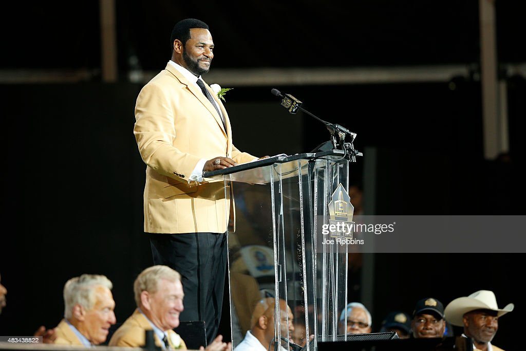 Jerome Bettis speaks during the NFL Hall of Fame induction ceremony at Tom Benson Hall of Fame Stadium on August 8 2015 in Canton Ohio