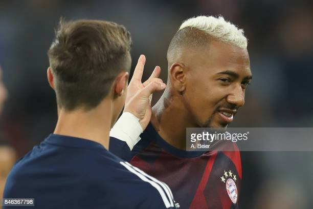 Jerome Boateng and Marco Friedl of FC Bayern Muenchen joke before the UEFA Champions League group B match between Bayern Muenchen and RSC Anderlecht...