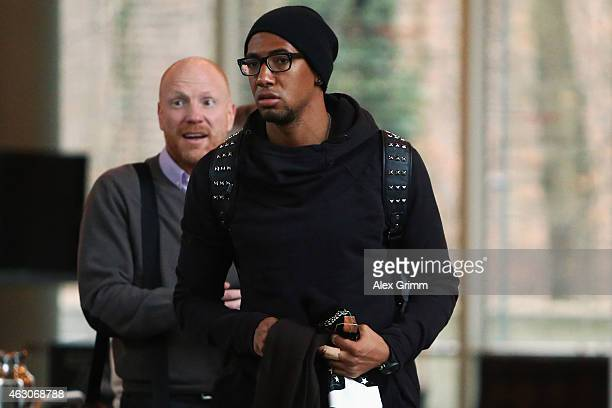 Jerome Boateng and sporting director Matthias Sammer of Bayern Muenchen arrive for a trial at the DFB Sports Court at the DFB headquarters on...