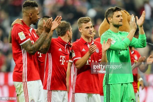 Jerome Boateng Arturo Erasmo Vidal Philipp Lahm Joshua Kimmich and Goalkeeper Sven Ulreich celebrate their win during the Bundesliga match between...