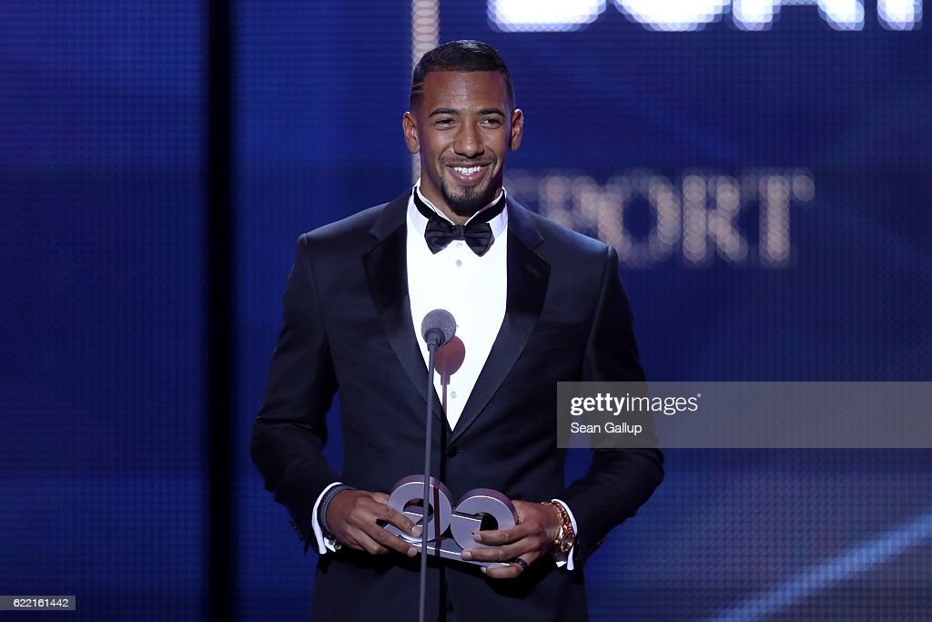 Jerome Boateng is seen on stage at the GQ Men of the year Award 2016 show (german: GQ Maenner des Jahres 2016) at Komische Oper on November 10, 2016 in Berlin, Germany.