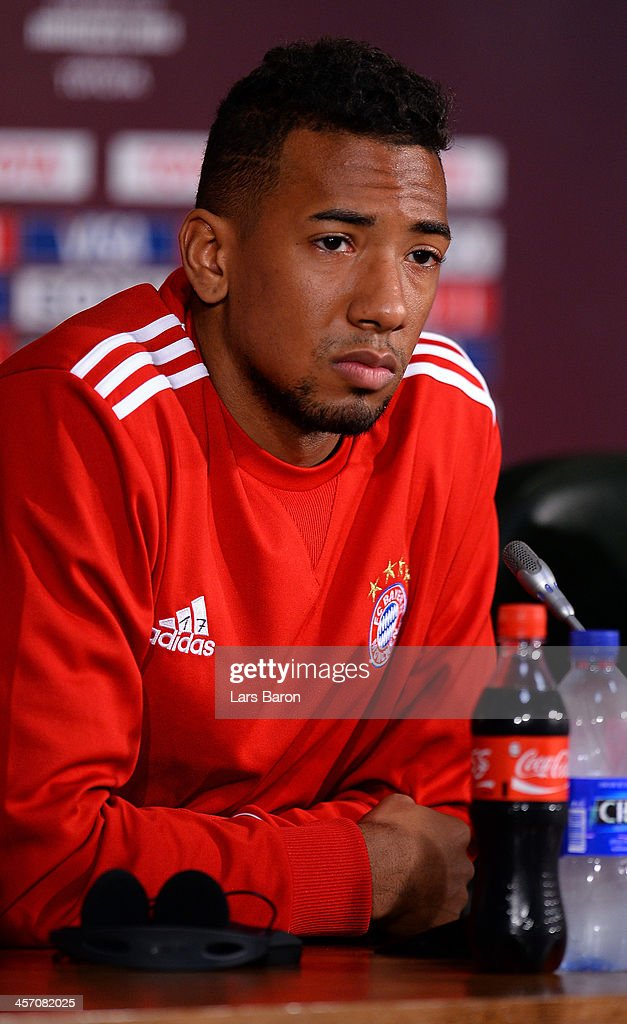 Jerome Boateng looks on during a Bayern Muenchen press conference for the FIFA Club World Cup at Agadir Stadium on December 16, 2013 in Agadir, Morocco.