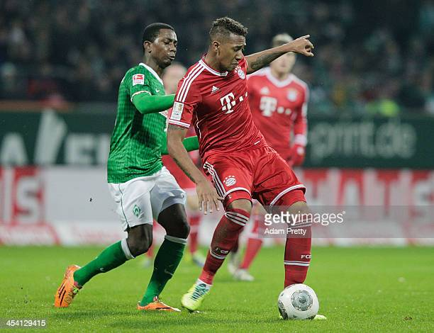 Jerome Boateng of Bayern in action during the Bundesliga match between Werder Bremen and FC Bayern Muenchen at Weserstadion on December 7 2013 in...
