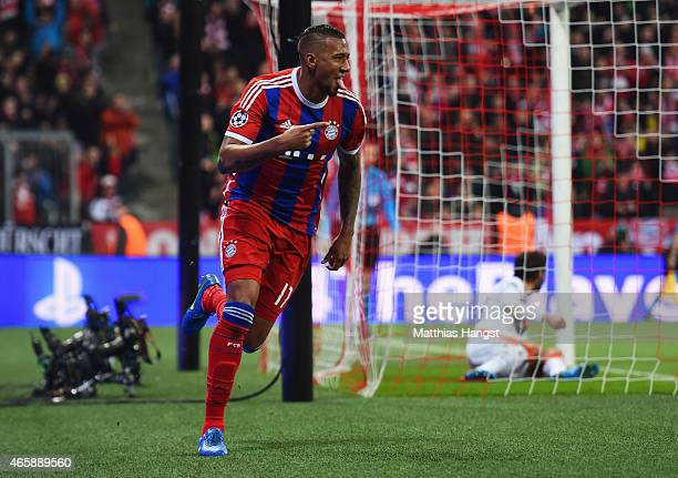 Jerome Boateng of Bayern Muenchen celebrates as he scores their second goal during the UEFA Champions League Round of 16 second leg match between FC...