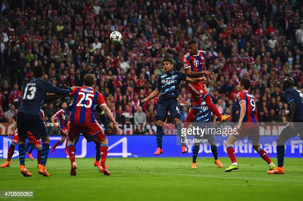 Jerome Boateng of Bayern Muenchen heads in their second goal during the UEFA Champions League Quarter Final Second Leg match between FC Bayern...