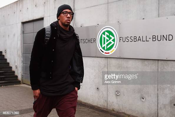 Jerome Boateng of Bayern Muenchen leaves the DFB headquarters after a trial at the DFB Sports Court on February 9 2015 in Frankfurt am Main Germany