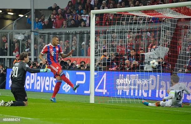Jerome Boateng of Bayern Muenchen scores his teams' second goal during the UEFA Champions League Round of 16 second leg match between FC Bayern...