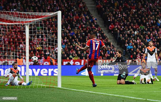 Jerome Boateng of Bayern Muenchen scores their second goal during the UEFA Champions League Round of 16 second leg match between FC Bayern Muenchen...