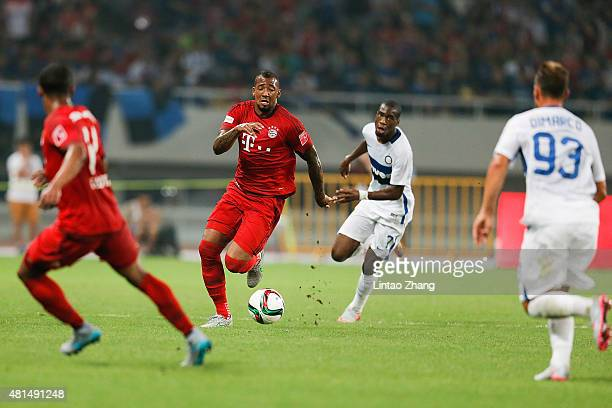Jerome Boateng of FC Internazionale challenges Geoffry Kongdogbia and Federico Dimarco of FC Bayern Muenchen during the international friendly match...