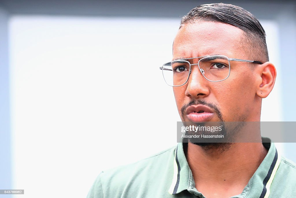 Jerome Boateng of Germany arrives for a Germany press conference at Ermitage Evian on June 30, 2016 in Evian-les-Bains, France.