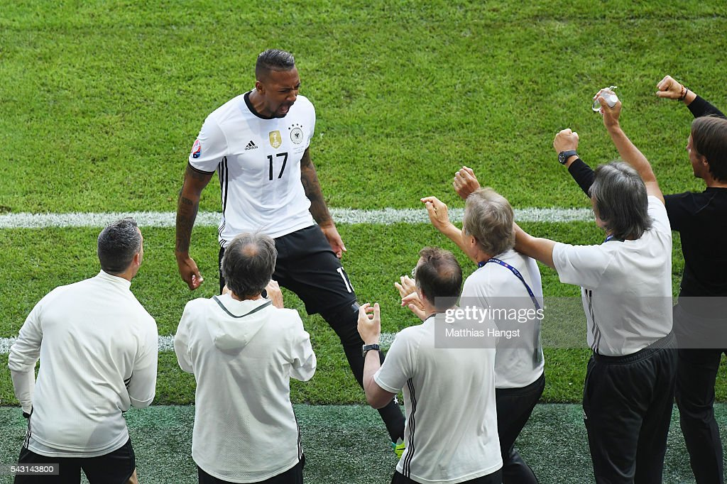<a gi-track='captionPersonalityLinkClicked' href=/galleries/search?phrase=Jerome+Boateng&family=editorial&specificpeople=2192287 ng-click='$event.stopPropagation()'>Jerome Boateng</a> of Germany celebrates scoring his team's first goal with his team staffs during the UEFA EURO 2016 round of 16 match between Germany and Slovakia at Stade Pierre-Mauroy on June 26, 2016 in Lille, France.