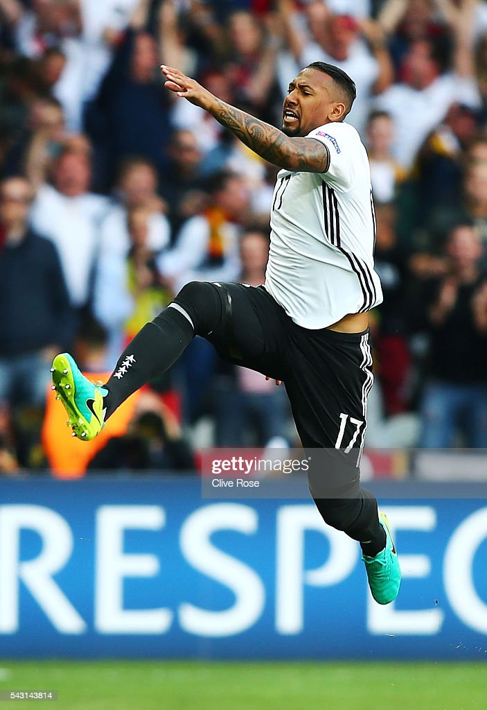 <a gi-track='captionPersonalityLinkClicked' href=/galleries/search?phrase=Jerome+Boateng&family=editorial&specificpeople=2192287 ng-click='$event.stopPropagation()'>Jerome Boateng</a> of Germany celebrates scoring the opening goal during the UEFA EURO 2016 round of 16 match between Germany and Slovakia at Stade Pierre-Mauroy on June 26, 2016 in Lille, France.