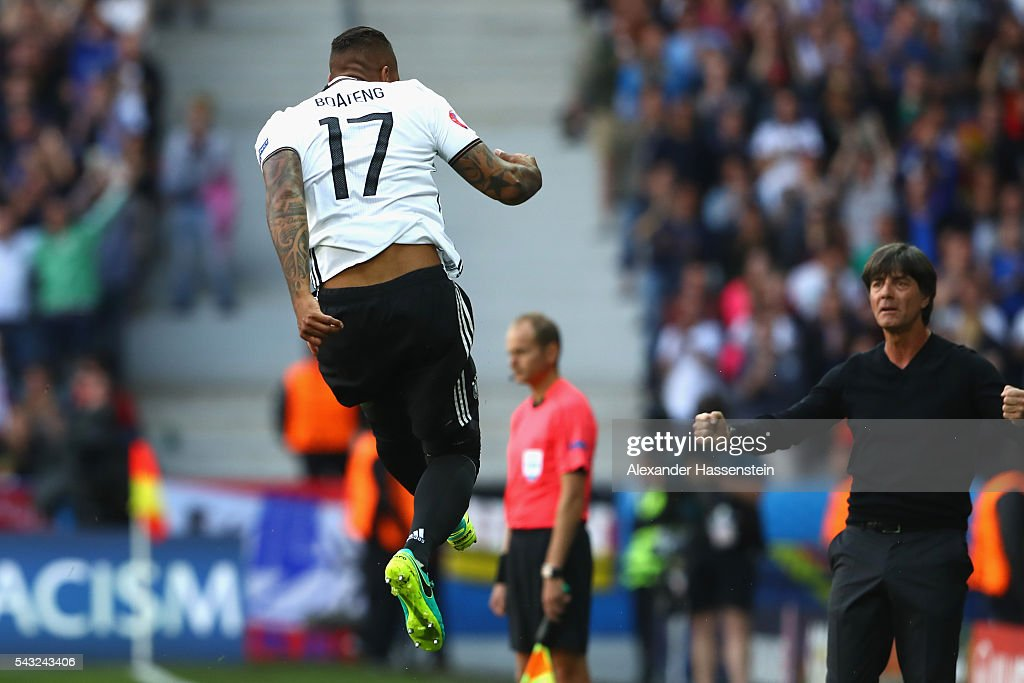 Jerome Boateng of Germany celebrates scoring the opening goal during the UEFA EURO 2016 round of 16 match between Germany and Slovakia at Stade Pierre-Mauroy on June 26, 2016 in Lille, France.