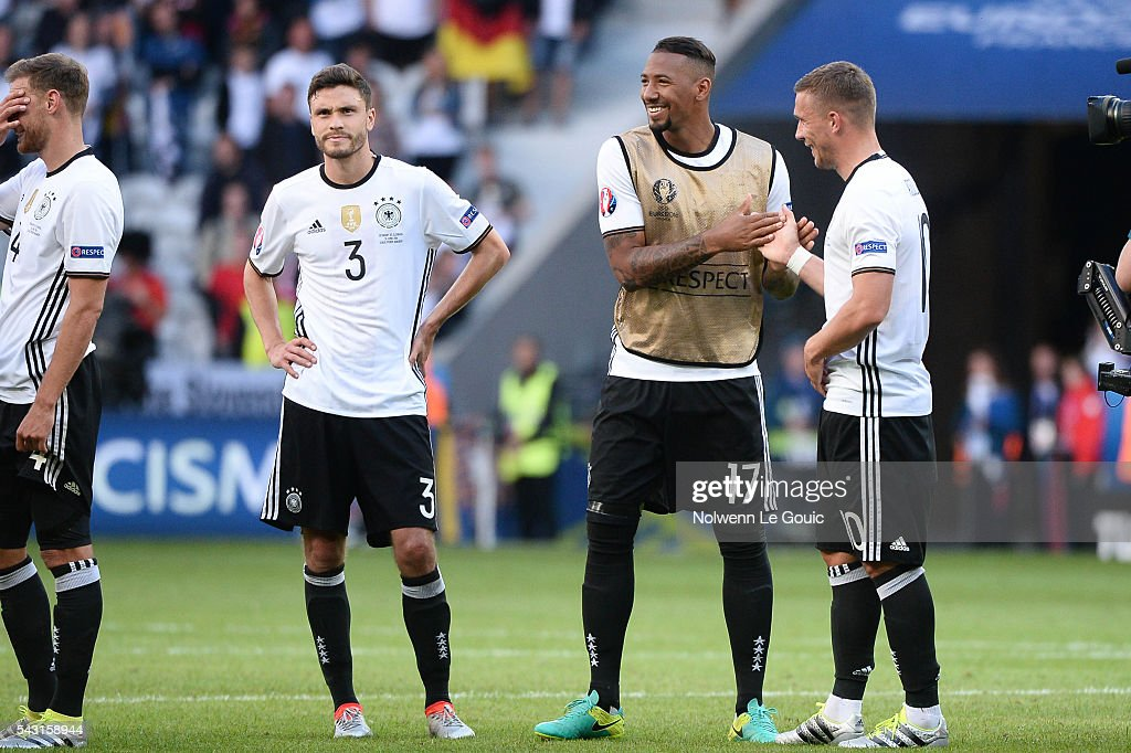Jerome Boateng of Germany celebrates victory during the European Championship match Round of 16 between Germany and Slovakia at Stade Pierre-Mauroy on June 26, 2016 in Lille, France.
