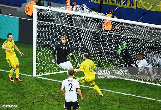 Jerome Boateng of Germany clears the ball away from his own goal line during the UEFA EURO 2016 Group C match between Germany and Ukraine at Stade...