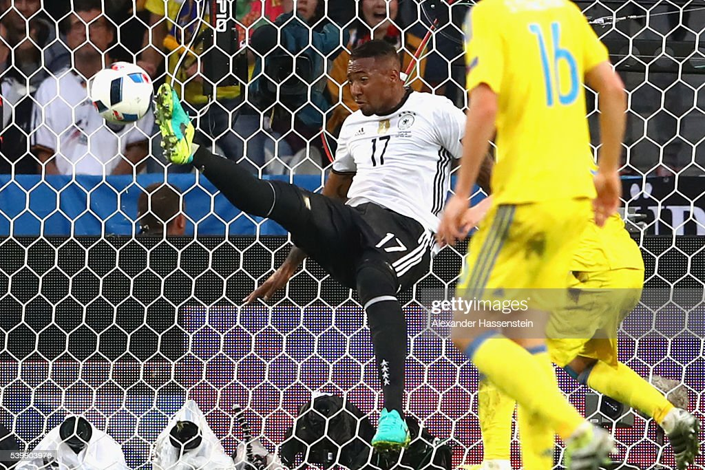 Jerome Boateng of Germany clears the ball off the goal line during the UEFA EURO 2016 Group C match between Germany and Ukraine at Stade Pierre-Mauroy on June 12, 2016 in Lille, France.