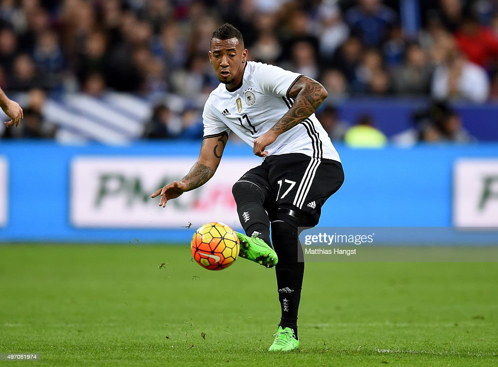 Jerome Boateng of Germany controls the ball during the International Friendly match between France and Germany at the Stade de France on November 13...