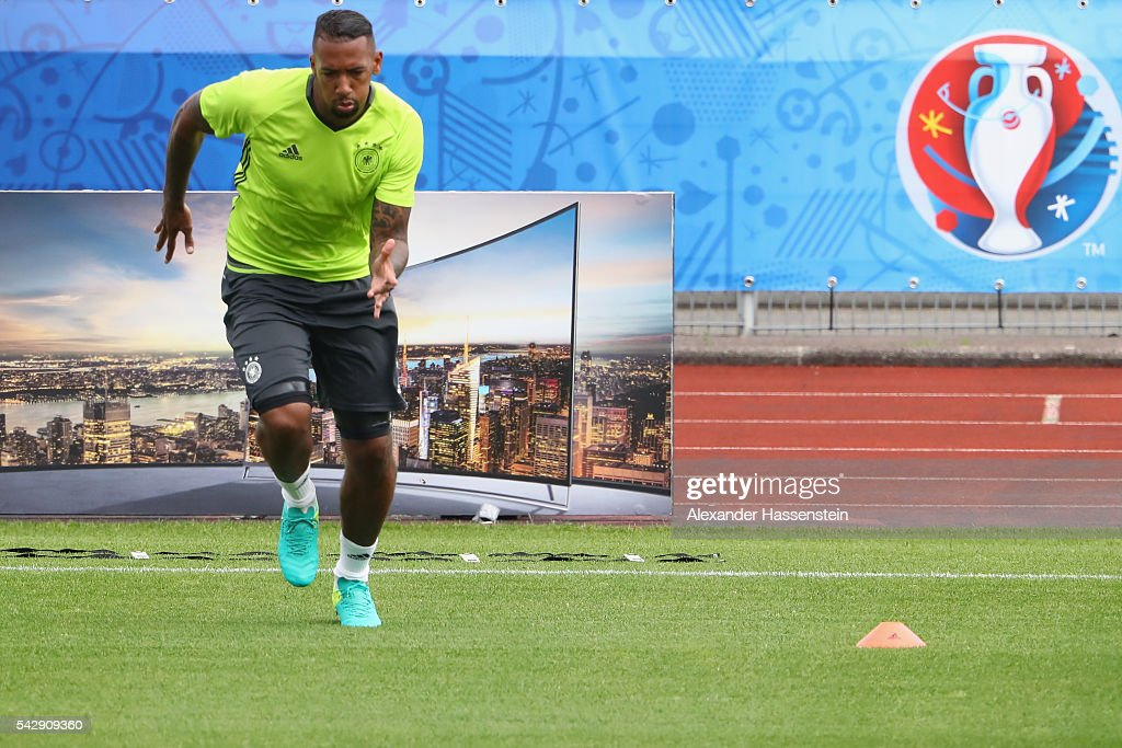 <a gi-track='captionPersonalityLinkClicked' href=/galleries/search?phrase=Jerome+Boateng&family=editorial&specificpeople=2192287 ng-click='$event.stopPropagation()'>Jerome Boateng</a> of Germany runs during a Germany training session ahead of their Euro 2016 round of 16 match against Slovakia at Ermitage Evian on June 25, 2016 in Evian-les-Bains, France.