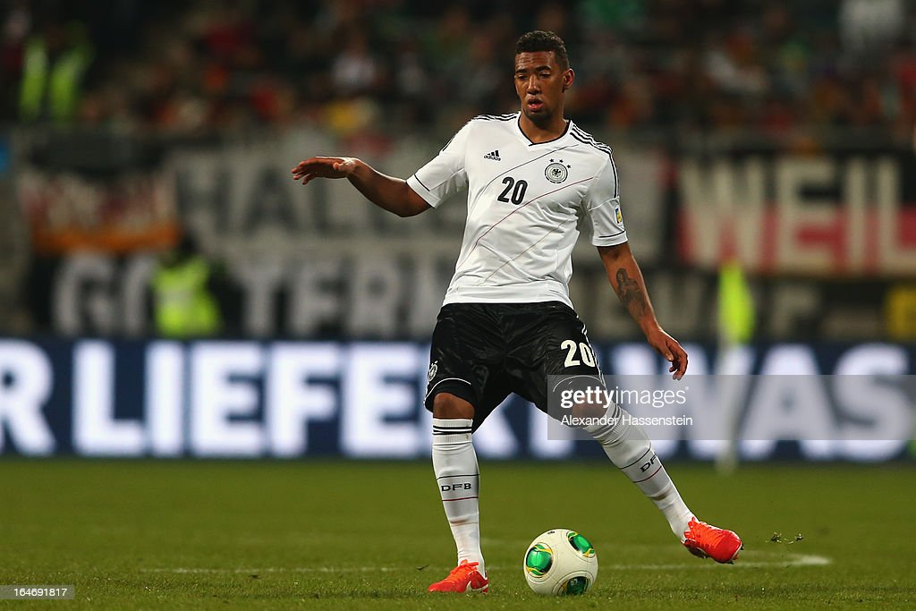 Jerome Boateng of Germany runs with the ball during the FIFA 2014 World Cup qualifier group C match between Germany and Kazakhstan at Gundig-Stadion on March 26, 2013 in Nuremberg, Germany.