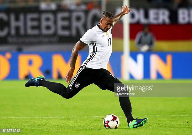 Jerome Boateng of Germany runs with the ball during the FIFA 2018 World Cup Qualifier between Germany and Czech Republic at Volksparkstadion on...