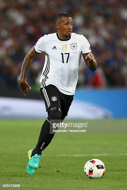 Jerome Boateng of Germany runs with the ball during the UEFA EURO 2016 semi final match between Germany and France at Stade Velodrome on July 7 2016...
