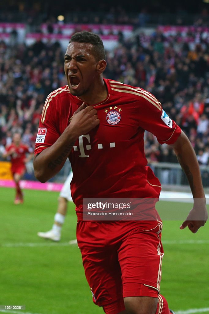 <a gi-track='captionPersonalityLinkClicked' href=/galleries/search?phrase=Jerome+Boateng&family=editorial&specificpeople=2192287 ng-click='$event.stopPropagation()'>Jerome Boateng</a> of Muenchen celebrates scoring the winning goal during the Bundesliga match between FC Bayern Muenchen and Fortuna Duesseldorf 1895 at Allianz Arena on March 9, 2013 in Munich, Germany.